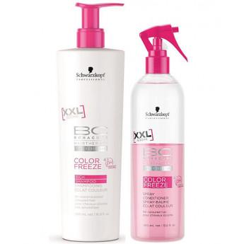 - SCHWARZKOPF - Pack Color Freeze XXL ( Champú sin sulfatos 500 ml + Spray Acondicionador 400 ml)