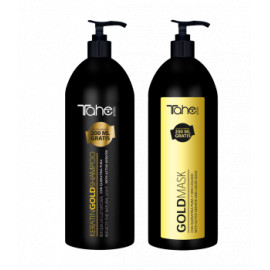 - TAHE - Pack Keratin Gold Total Repair (champú 1000 ml + mascarilla 1000 ml)
